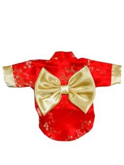 Dogacat เสื้อสุนัข เสื้อหมา เสื้อแมว ชุดกิโมโนญี่ปุ่น - สีแดง