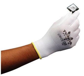 TONGA ถุงมือไนล่อนเคลือบพียู TG1001W สีขาว ขนาด กลาง (12 คู่/แพ็ค)