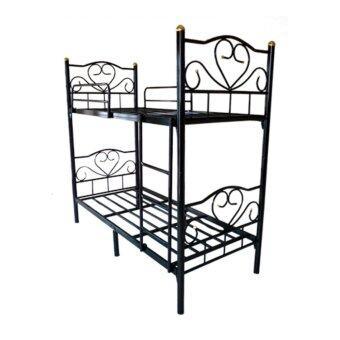 ISO เตียงเหล็ก 2 ชั้น ขนาด 3.5 ฟุต รุ่นโลตัส สีดำ