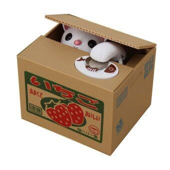 ปีใหม่ของขวัญน่ารักแมวขโมยเงินขโมยบันทึกอัตโนมัติในกล่องแห่ง