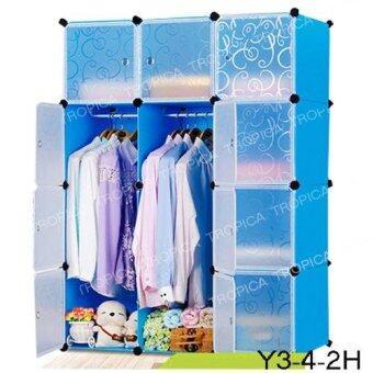 TROPICA ตู้เสื้อผ้า DIY #Y3-4-2H สีฟ้าขาว