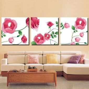 ELLEN กรอบรูป กรอยลอย ภาพพิมพ์ ภาพตกแต่งบ้าน รูปติดผนัง พร้อมแขวน รูปติดผนังกรอบลอย ดอกไม้และใบสีชมพู3ชิ้น ผ้าแคนวาส มีกรอบ40*40 cm