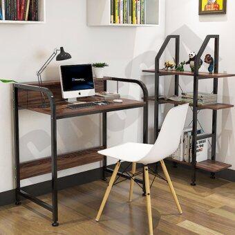 CASSA โต๊ะอเนกประสงค์ โต๊ะคอมพิวเตอร์ โต๊ะอ่านหนังสือ พร้อมราวกั้น ทั้ง2ด้าน ยาว104cm (สีดำ-ลายไม้เข้ม)รุ่น233-B281-104X50X88BB