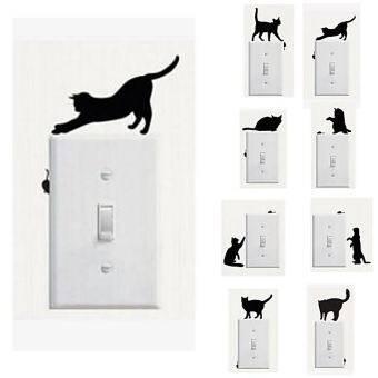 Cats Cartoon Light Switch Stickers x8 สติ๊กเกอร์ติดสวิตช์ไฟ รูปแมว 8 แผ่น (8 ลาย)