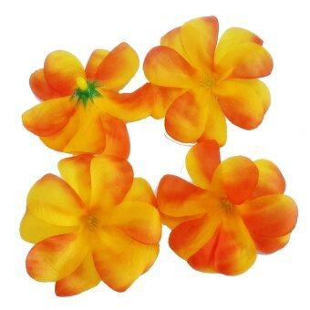 Dokpikul-หัวดอกลีลาวดี ดอกไม้ผ้า ประดิษฐ์ ขนาดเส้นผ่าศูนย์กลาง 6.5 ซม แพค 100ดอก .-สีส้มไฟสไลด์