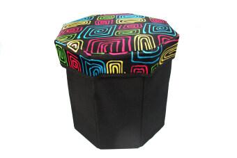 Replica Shop เก้าอี้สตูล 8 เหลี่ยม ลายกราฟฟิก - สีดำ