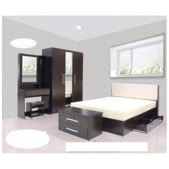 RF Furniture ชุดห้องนอน DD รุ่น Milan Set ขนาด 5 ฟุต เตียง 5 ฟุต + ตู้เสื้อผ้า 3 บาน + โต๊ะแป้ง 80 cm ( สีโอ๊ค )