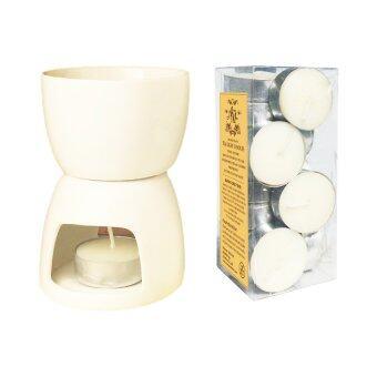 Aroma & More เตาเผาน้ำมันหอมระเหย เตาฟองดูว์ ขนาดสูง 13.5 ซม. - สีขาว (พร้อมเทียน)