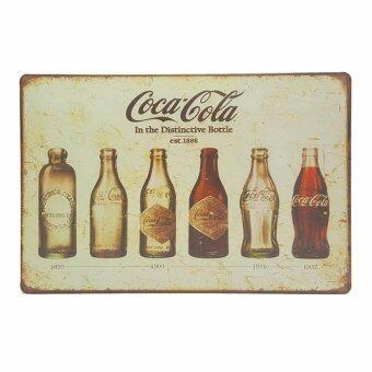 ป้ายสังกะสีวินเทจ Coca Cola Bottle Evolution