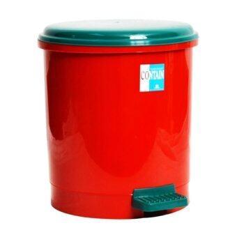 Thai Style ถังขยะแบบเหยียบทรงกลม 18 ลิตร (สีแดง/เขียว)