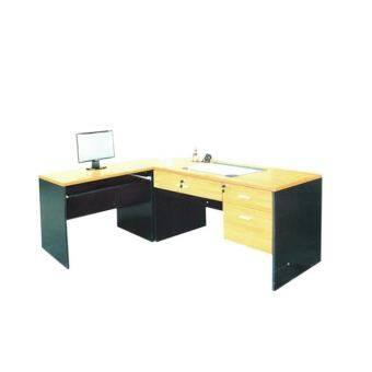 RF Furniture ชุดโต๊ะทำงานเข้ามุม หน้าท็อปผิวเมลามีน รุ่น ML ( สีเชอร์ร่/ดำ )