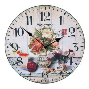 34cm.Kristra Home&Decoration นาฬิกาแขวนผนัง แนววินเทจ รุ่นT60528