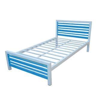 ISO เตียงเหล็กกล่องอย่างหนา รุ่นคอนโด ขนาด 3.5ฟุต สีฟ้า-ขาว