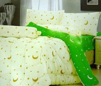 AI ZHUO ผ้าปูที่นอน 6 ฟุต พร้อมผ้านวม 6 ชิ้น ลายพระจันทร์ (สีเขียว/ครีม)