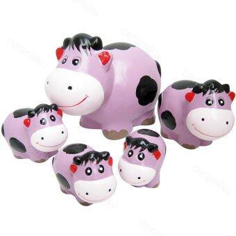 ชุดแต่งสวน(เซรามิค) ครอบครัววัว แม่วัว+ลูกวัว-สีม่วง