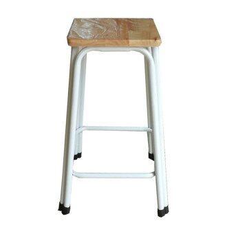 Richer เก้าอี้สตูลขาคู่ สูง18นิ้ว ( สีขาว-ท้อปไม้ยางพารา )