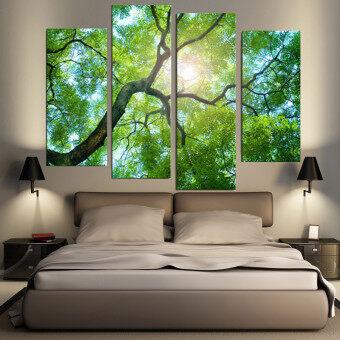 30ซม x 80ซม 4แผ่นไม่มีกรอบสีเขียวต้นไม้ภาพวาดภาพผนังห้องบ้านศิลปะสมัยใหม่การตกแต่งภาพ