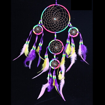 Harga Black Horse DREAM CATCHER Indian Feather Five Rainbow Colour Circle Net for Home Car Hanging