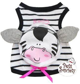 PetSociety เสื้อสุนัข เสื้อแมว แต่งกระเป๋าลายริ้ว หน้า 'วัว' – สีขาวดำ