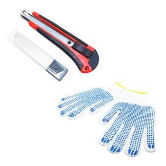 Replica Shop มีดคัตเตอร์ พร้อมใบมีด18 มม. (สีแดง)+ถุงมือผ้า 2 คู่