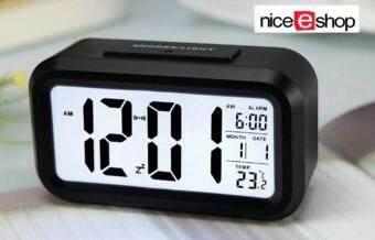 รีวิวสินค้า niceEshop นาฬิกาปลุก led แบบกับขาวสว่างอุณหภูมิตอนกลางวัน (สีดำ) เปรียบเทียบราคา
