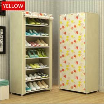Shoes Rack ชั้นวางรองเท้า ตู้เก็บรองเท้า ตู้ใส่รองเท้า 7 ชั้น จำนวน 21 คู่ (สีเหลือง/yellow)