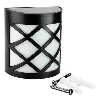 โคมไฟผนังพลังงานแสงอาทิตย์ 6 LED ทรงสี่เหลี่ยมลายตาราง : เเสงสีขาว