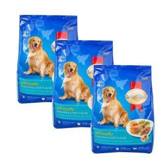 SmartHeart Adult สุนัขโต รสไก่และตับ 1.5kg*3ถุง