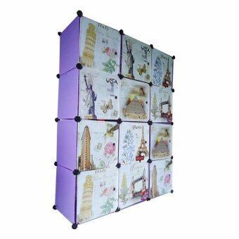 I-YO DIY Cabinet ตู้เสื้อผ้า+ตู้เก็บของ 12 ช่อง ลายวินเทจ (สีม่วง)