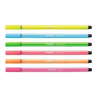 STABILO Pen 68 ปากกาสีหมึกน้ำ Neon Color Fibre-Tip Pen ชุด 6 สีสีละ 2 ด้าม