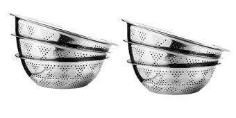 CCG 6 ใบ/ชุด 24 ซม. กะละมัง / กะละมังสเตนเลส / กะละมังล้างผัก รูเล็ก