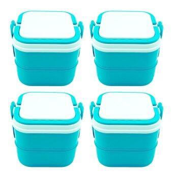 DMT ปิ่นโต 2ชั้น กล่องใส่อาหาร ถนอมอาหาร (สีฟ้า) จำนวน 4เถา