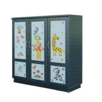 RF Furniture ตู้เสื้อผ้าเด็ก 120 cm 3ประตูทึบ รุ่น WR120M( สีโอ๊คลายการ์ตูนน่ารัก )