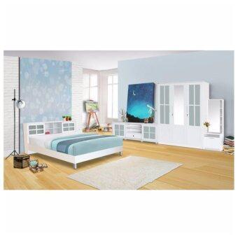 RF Furniture ชุดห้องนอนบานเลือน 6 ฟุต เตียง 6 ฟุต + ตู้เสื้อผ้า 3 บาน + โต๊ะแป้งยืน 60 cm + ตู้วางทีวี ( สี ขาว )