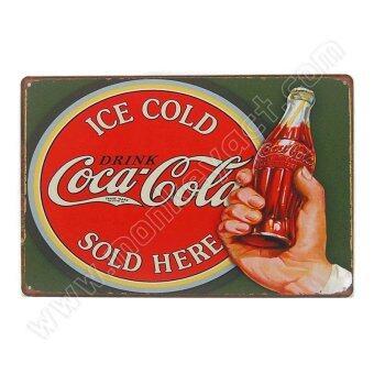 ป้ายสังกะสีวินเทจ Ice Cold Coca Cola Sold Here