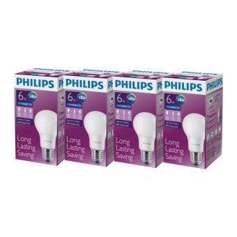 Philips หลอดไฟ LED Bulb 6 วัตต์ - สีคูลเดย์ไลท์ (6500k) (แพ็ค4)