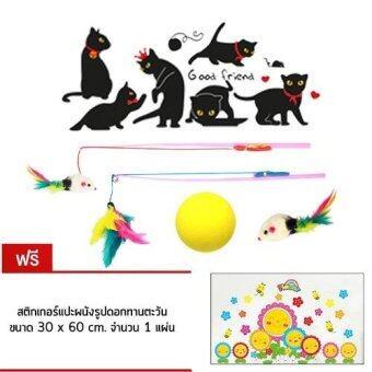 Finger สติกเกอร์ติดผนังรูปแมว ของเล่นแมว แถมสติกเกอร์ติดผนัง รูปทานตะวันการ์ตูน Cat Wall Sticker and Cat Toys