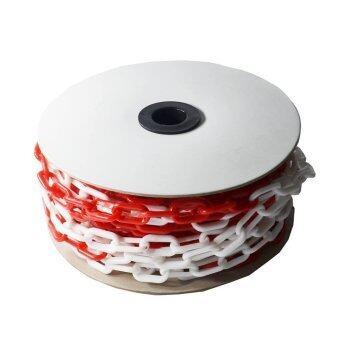 โซ่พลาสติก โซ่กั้นเขต จราจร สีขาว-แดง หนา 6 มม. ยาว 25 เมตร / Plastic Chain