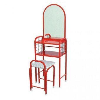 Asia โต๊ะเครื่องแป้งเหล็ก+สตูลเบาะ รุ่นจิ๋ว สีแดง