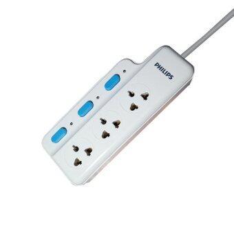 Philips รางปลั๊กไฟ 3 ช่องเสียบ (ป้องกันไฟรั่ว-ไฟเกิน) 3m./10A - White