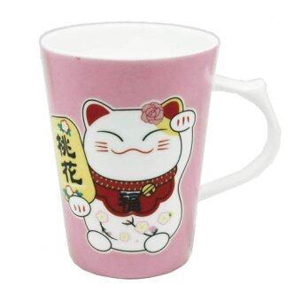LEE TAI FU แก้วเซรามิคแมวมาเนะกิเนะโกะ (สีชมพู)