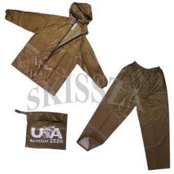 ชุดกันฝน เสื้อกันฝน มีแถบสะท้อนแสง เสื้อ+กางเกง+กระเป๋า (สีเขียว)