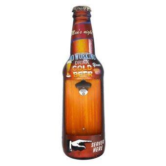 ป้ายสังกะสี No Working Drink Cold Beer (3D+ที่เปิดขวด)