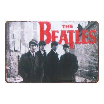 MonkeyAct ป้ายสังกะสีวินเทจ The Beatles Band
