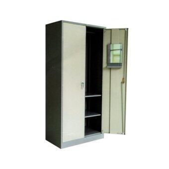 DAXTON ตู้เสื้อผ้าเหล็กบานเปิดทรงสูง มือบิด สีเทาสลับ รุ่น LK-3680 - Gray /Two Tone