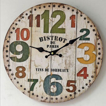 Harga Zakka Retro American Style Wood Wall Clock Shabby Vintage Round Sitting Room Decorative Mute Wall Clock Home Bar Pub Art Decor 35x35cm - (Intl)