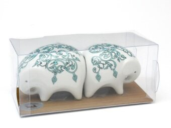 ช้างเกลือ พริกไทย - ช้างขาวลายไทยสีฟ้า