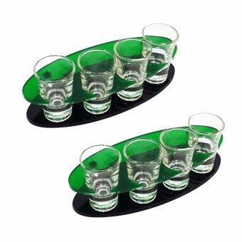 แร็คอะคิลิกใส่แก้วช็อต วงรี 4 แก้ว + แก้วช็อต 4 ใบ จำนวน 2 ชุด