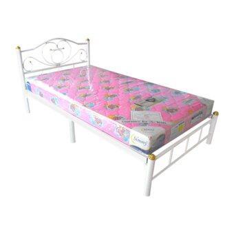 ISO SET เตียงเหล็ก 3.5 ฟุต รุ่นโลตัส สีขาว + ที่นอนโฟมเสริมฟองน้ำ 3.5 ฟุต x 6นิ้ว รุ่นLatte
