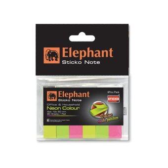 Elephant กระดาษโน้ต กาวในตัว อินเด็กซ์ ตราช้าง นีออน 12x50 มม. (80แผ่น)